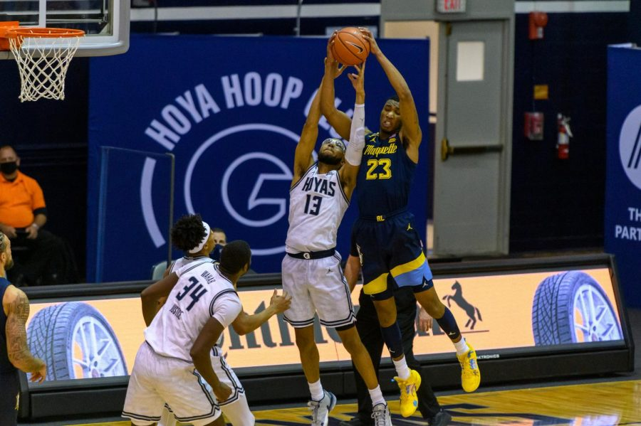 Jamal Cain had a career-high 25 points at Georgetown Saturday night. (Photo courtesy of Marquette Athletics.)