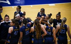 Marquette gathers for a huddle in their 77-66 loss to Seton Hall on Jan. 15. (Photo courtesy of Seton Hall Athletics.)
