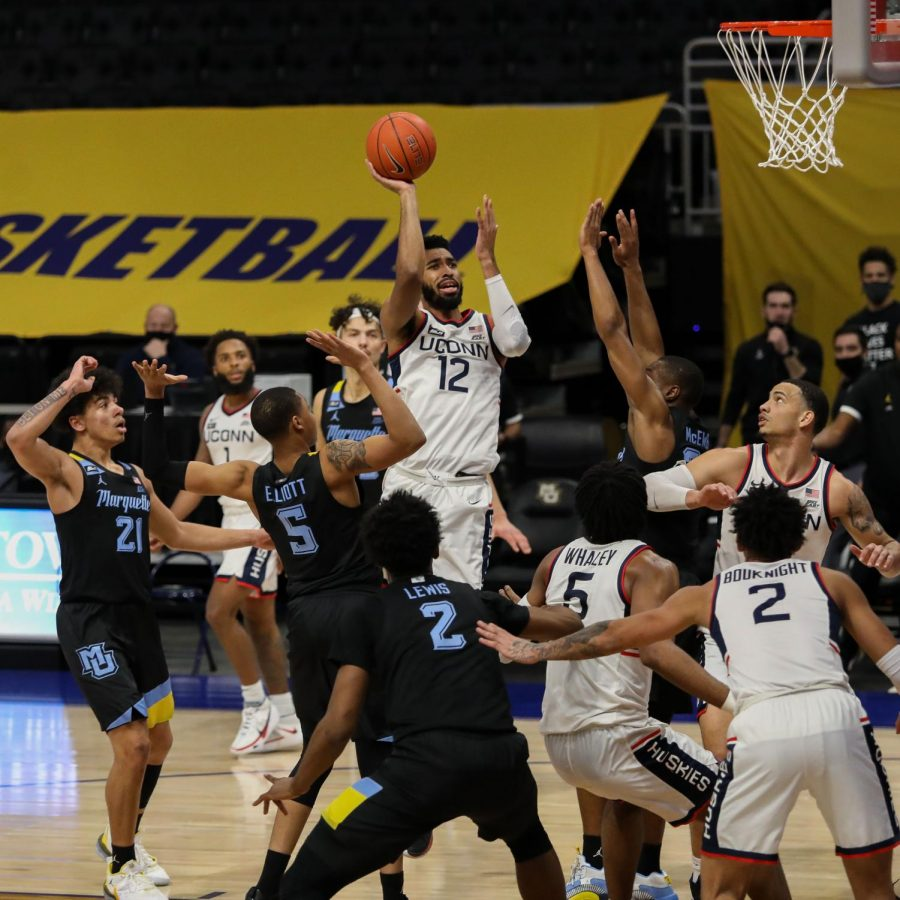 University of Connecticut's Tyler Polley scored a career-best 22 points against Marquette Tuesday night. (Photo courtesy of Marquette Athletics.)