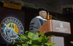 Hank Aaron was the speaker at Marquette's Commencement ceremony in 2012. (Photo courtesy of Marquette University.)