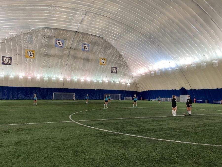 The women's soccer team was in the Valley Fields dome for their intersquad scrimmage Jan. 24. (Photo courtesy of Marquette Athletics.)