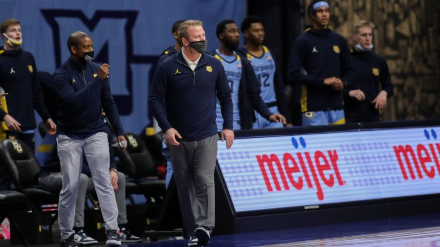 Marquette head coach Steve Wojciechowski paces the sideline during Sunday afternoon's matchup against St. John's (Photo courtesy of Marquette Athletics.)