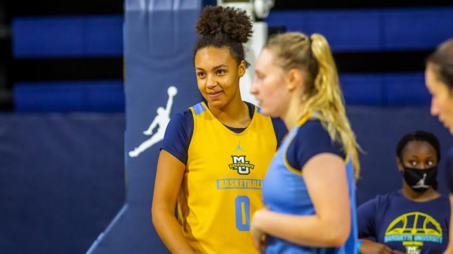 Okosun+is+a+first+year+forward+on+the+Marquette++women%27s+basketball+team+%28Photo+Courtesy+of+Marquette+Athletics%29.
