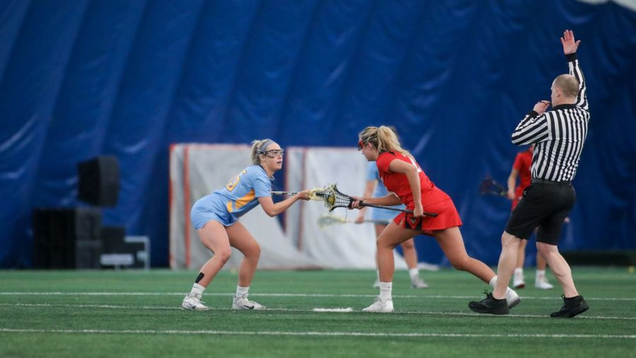 The Marquette women's lacrosse team came out victorious in their first ever show down against Oregon (Photo Courtesy of Marquette Athletics).