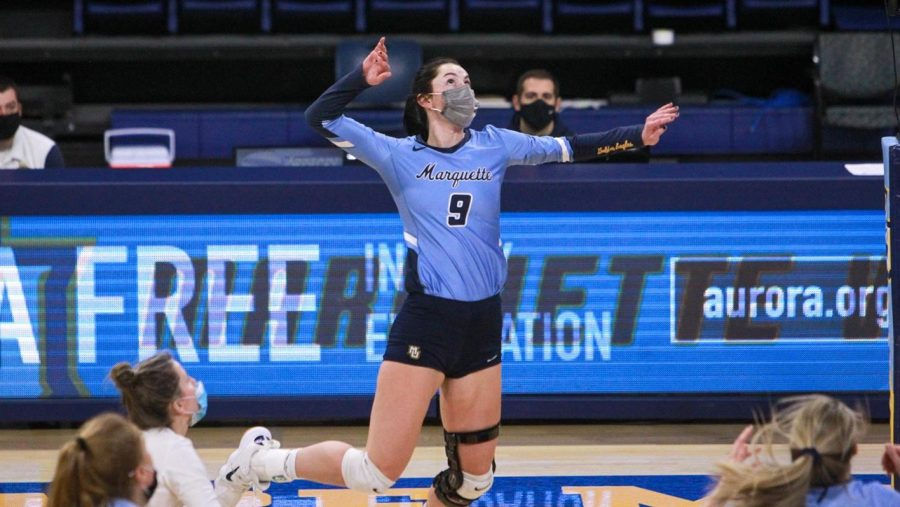Marquette volleyball won their first Big East Conference game on Friday (Photo Courtesy of Marquette Athletics).