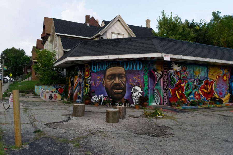 A mural dedicated to George Floyd, who's death inspired many protests against racial injustice