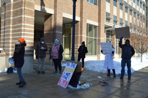Many staff and faculty members were present outside of Zilber.