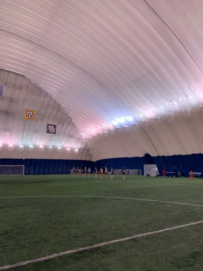 Despite harsh winter conditions, the Valley Fields Dome has allowed MU athletic teams to play and practice in the winter months (Photo courtesy of Marquette Athletics.)