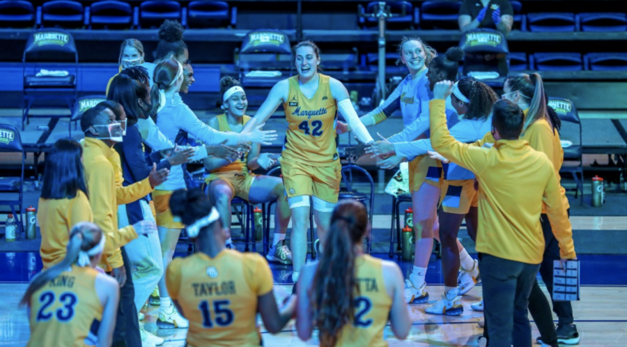 Lauren Van Kleunen (42) being introduced prior to Marquette's 89-40 win over Providence on Dec. 4 2020. (Photo courtesy of Marquette Athletics.)