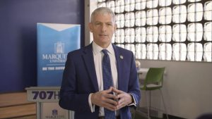 University President Michael Lovell delivered his presidential address from the 707 Hub Feb. 4.