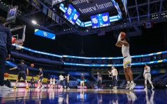 The Marquette men's basketball team warms up before their game against Butler on Feb. 2 (Photo courtesy of Marquette Athletics.)