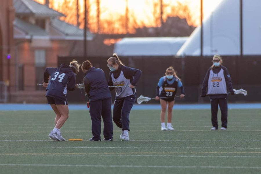 The Marquette women's lacrosse team practices down at Valley Fields (Photo courtesy of Marquette Athletics.)