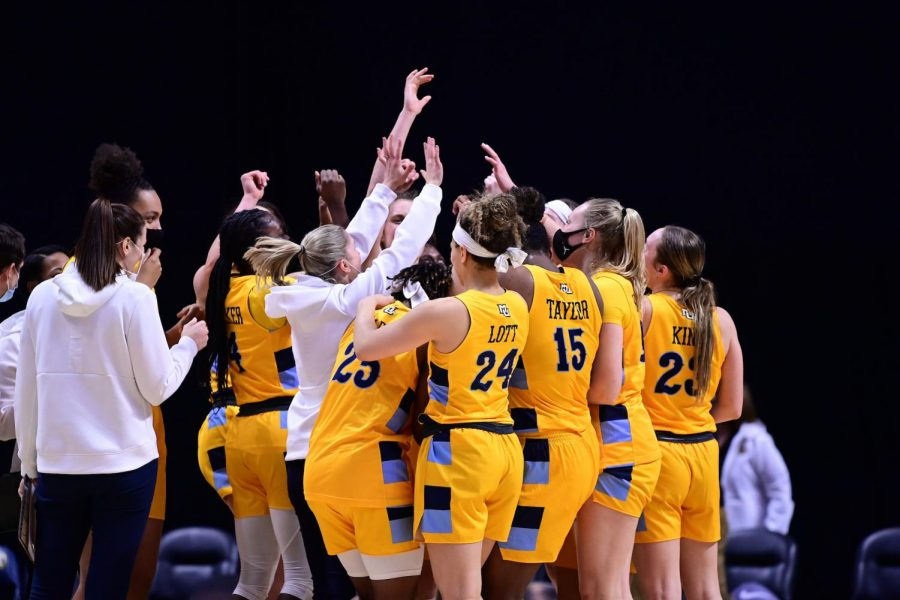 Marquette women's basketball celebrates in its 64-59 win over Creighton in the BIG EAST semifinals' on Mar. 7 2020. (Photo courtesy of the BIG EAST Conference.)