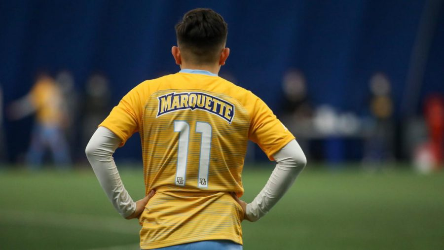 First-year forward Beto Soto looks on during the squad's game against Loyola Chicago earlier this season. Soto had the best scoring opportunity of the day for the Golden Eagles on Wednesday afternoon (Photo courtesy of Marquette Athletics.)
