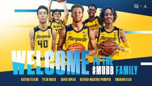 Five new additions to Marquette's mens basketball roster were announce on Thursday (Photo courtesy of Marquette Athletics).