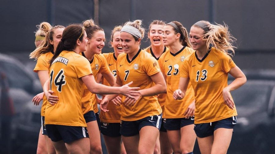 The Marquette Women's Soccer team secured a season finale win against Xaiver (Photo courtesy of Marquette Athletics).