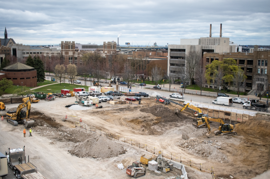 The new College of Business Administration building is being built on the green space next to the Alumni Memorial Union.