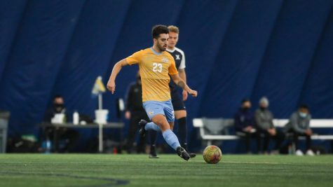 Junior midfielder Zyan Andrade gears up to kick the ball during the squad's 2-1 win over Xavier March 17 (Photo courtesy of Marquette Athletics.)