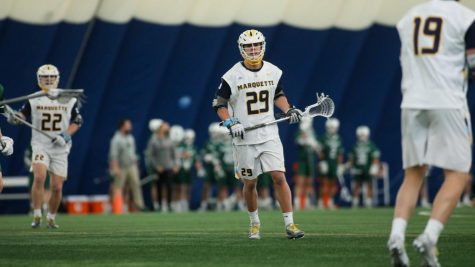 Redshirt first-year attacker Devon Cowan looks on during the teams game against Cleveland State March 27 (Photo courtesy of Marquette Athletics.)