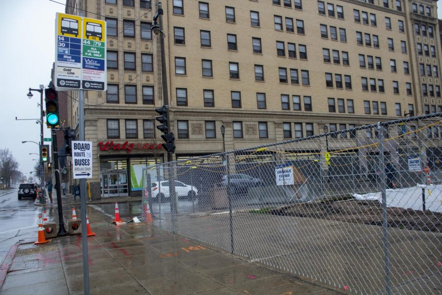 A bus stop on the corner of 16 Street and Wisconsin Avenue was removed for the construction of the new College of Business Administration building.