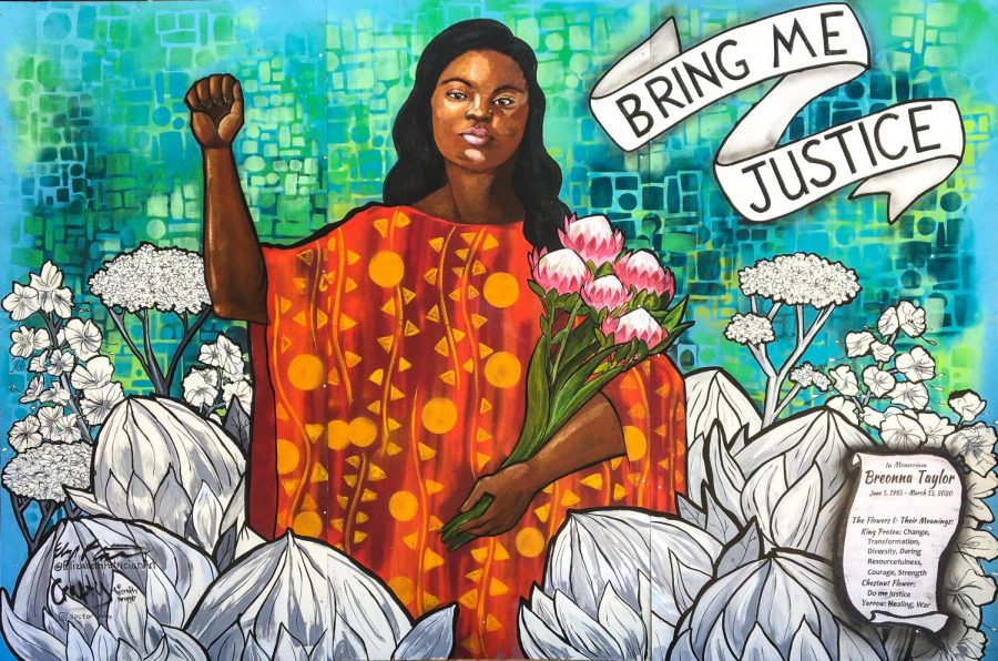 A mural of Breonna Taylor, who was killed by police officers in her apartment March 2020. Photo via Flickr