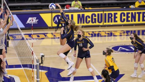 Marquette volleyball missed the NCAA Tournament for the first time in head coach Ryan Theis's tenure.  (Photo courtesy of Marquette Athletics.)