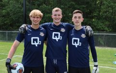 Goalkeepers Cedrik Stern, Chandler Hallwood and Jackson Weyman (from left to right) prior to Sunday afternoon's NCAA Tournament match against LMU. Hallwood played all 110 minutes of action and was in net for penalty kicks, tallying seven saves and allowing just one shot to find the back of the net during PKs (Photo courtesy of Marquette Athletics.)