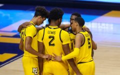 The Marquette men's basketball team huddles during their 85-68 loss to Villanova on Dec. 23 2020. (Photo courtesy of Marquette Athletics.)