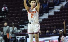 Natisha Hiedeman attempting a 3-pointer in the Connecticut Sun's 74-67 win over the Las Vegas Aces on June 1. (Photo Courtesy of the Connecticut Sun.)