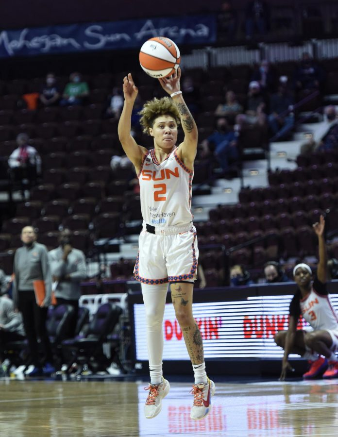 Natisha Hiedeman attempting a 3-pointer in the Connecticut Suns 74-67 win over the Las Vegas Aces on June 1. (Photo Courtesy of the Connecticut Sun.)