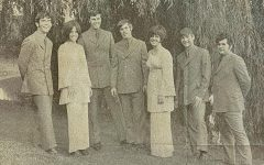 The Gregory James Band was featured in the October 4th, 1969 Edition of the Marquette Tribune. Pictured is (left to right) Jim Furman, Barb Ross, Greg Samuels, Jim Finn, Lynn Ross, Dave Uebele, and Tom Lourinne.
