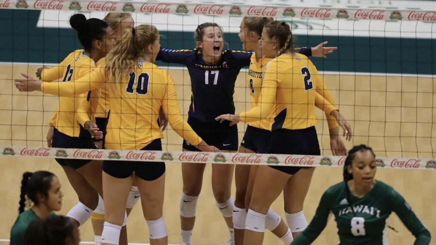 Marquette Volleyball celebrates during its 3-0 win over Hawaii on Aug. 28. (Photo Courtesy of Marquette Athletics.)