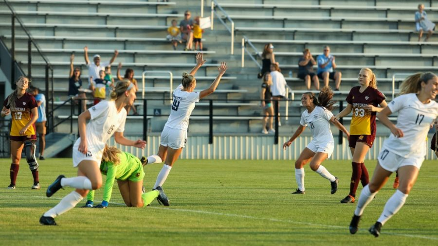 Marquette womens soccer celebrates after a goal in 4-3 victory over Central Michigan Aug. 26. (Photo courtesy of Marquette Athletics.)