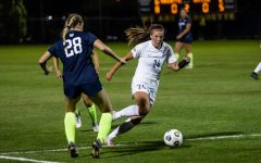 Katrina Wetherell (24) makes a move on a Butler defender while heading to net in the Golden Eagles 1-0 loss to the Bulldogs Sept. 23. (Photo courtesy of Marquette Athletics.)