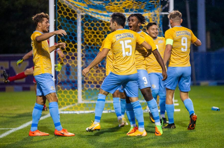 Marquette+mens+soccer+celebrates+after+redshirt+sophomore+forward+Christian+Marquezs+goal+in+its+2-1+victory+over+Kansas+City+Sept.3.+