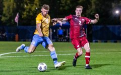 Sam Thornton (19) attempts a shot in No. 18 Marquette's 1-0 double overtime loss to Wisconsin Sept. 13.