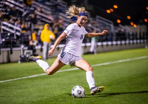 Alex Campana (19) sends a kick in the box during Marquettes 1-0 loss to Butler Sept. 23.