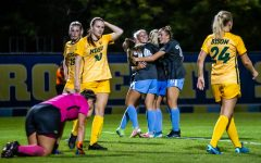 Marquette women's soccer celebrates after first-year forward Kate Gibson's game winning goal in the 106th minute against North Dakota State University Sept. 17.