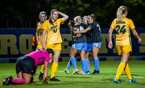 Marquette womens soccer celebrates after first-year forward Kate Gibsons game winning goal in the 106th minute against North Dakota State University Sept. 17.