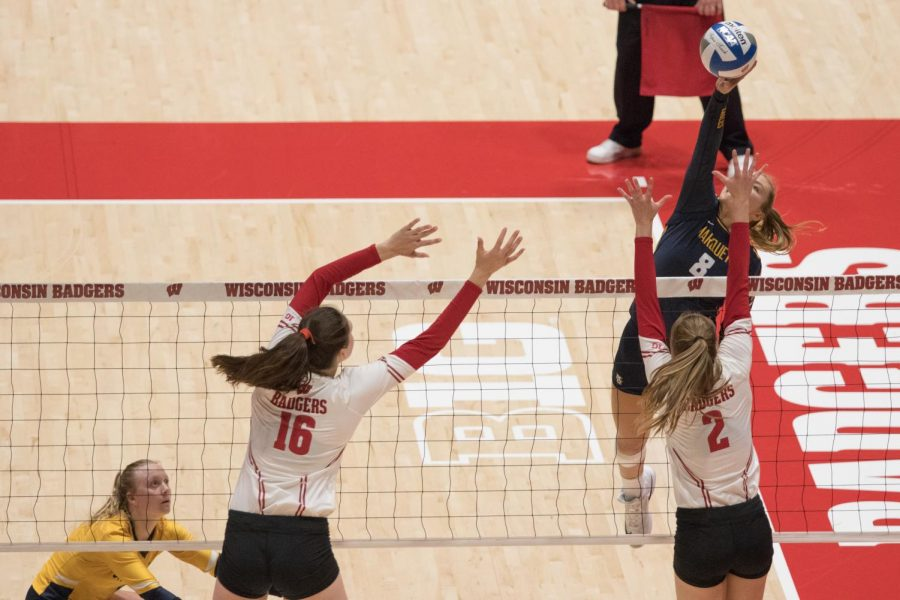 Hope Werch (8) completes a kill in Marquettes 3-2 win over Wisconsin Sept. 5. (Marquette Wire Stock Photo.)