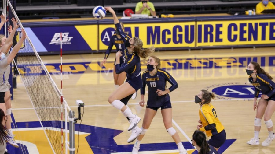 Savannah Rennie goes up for a kill in Marquettes 3-1 win over St. Louis Feb. 25. (Photo courtesy of Marquette Athletics.)