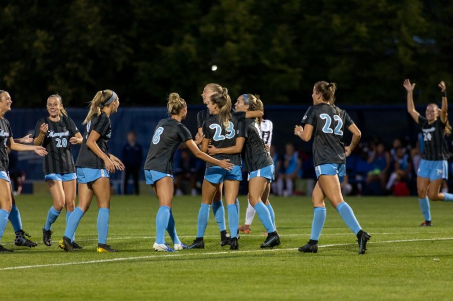 Marquette+womens+soccer+celebrates+after+redshirt+junior+midfielder+Rachel+Johnsons+goal+in+their+1-0+win+over+University+of+Illinois-Chicago+Sept.+9.+%28Photo+courtesy+of+Marquette+Athletics.%29
