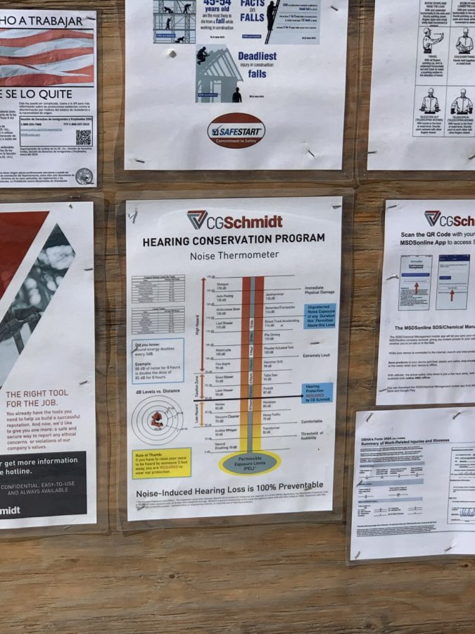 A noise thermometer poster outside the construction site around the St. Joan of Arc Chapel.
