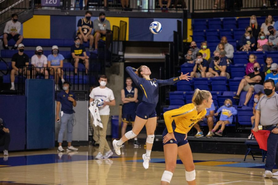 Carly Skrabak serves the ball in Marquettes 3-1 win over UConn Oct.1 at the Al McGuire Center. (Photo courtesy of Marquette Athletics.)