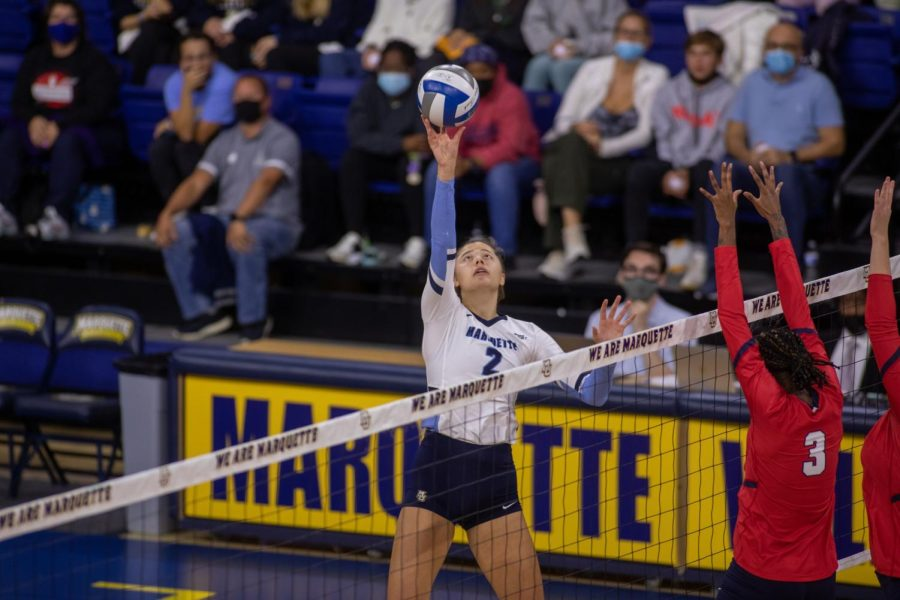 Hannah Vanden Berg attempts to finish a kill a kill in Marquettes 3-0 win over St. Johns Oct. 15. (Photo courtesy of Marquette Athletics.)