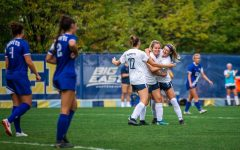 Marquette womens soccer celebrates after Hailey Blocks goal in the 69th minute in its 1-0 win over Seton Hall Oct. 3.