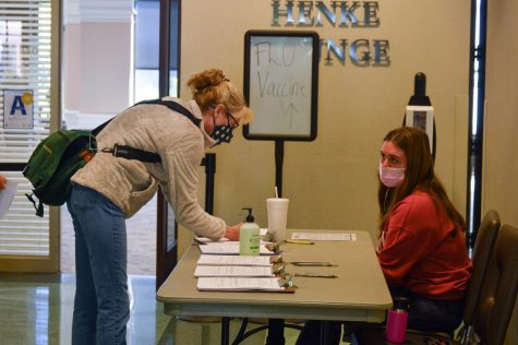 Marquette nursing students administering the flu shot.