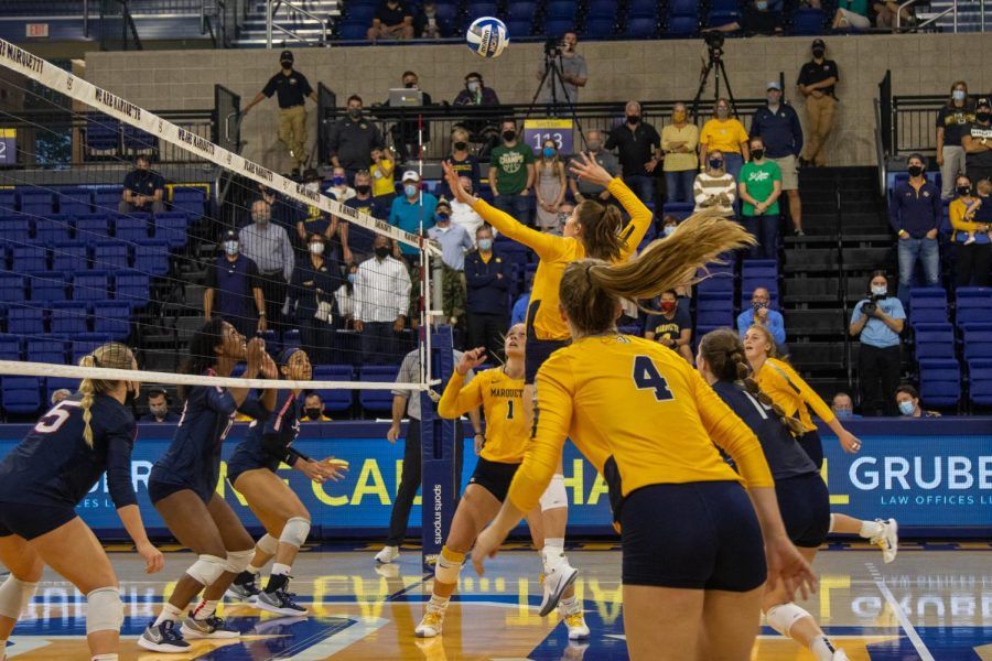 Claire+Nuessmeier+goes+up+for+kill+attempt+in+Marquettes+3-1+victory+on+UConn+Oct.+1+at+the+Al+McGuire+Center.+