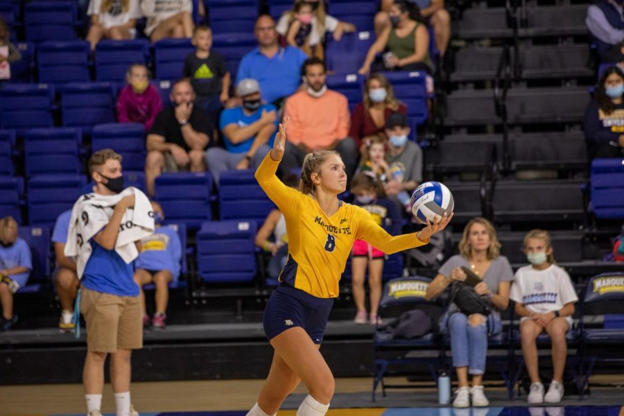 Hope+Werch+%288%29+gets+ready+for+a+serve+in+Marquettes+3-1+victory+over+UConn+Oct.+1.+%28Photo+courtesy+of+Marquette+Athletics.%29