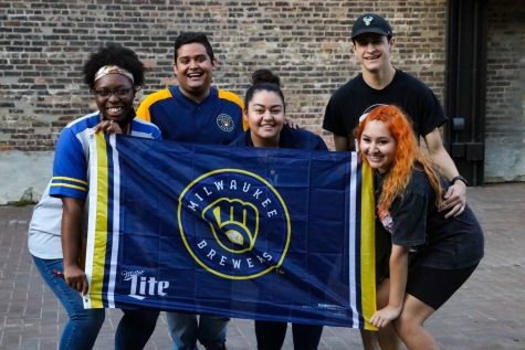 Fans gathered Tuesday, Oct. 12, to watch the Milwaukee Brewers play.